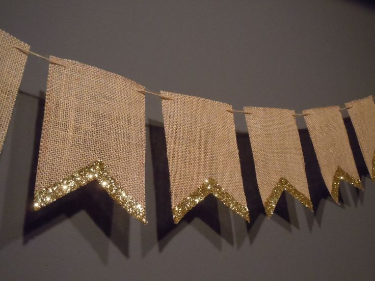 Burlap Pennant Banner For Wedding Or Party Decoration With Gold/Silver Glitter Edge by WholeheartedlyPS on Etsy https://www.etsy.com/listing/232563364/burlap-pennant-banner-for-wedding-or