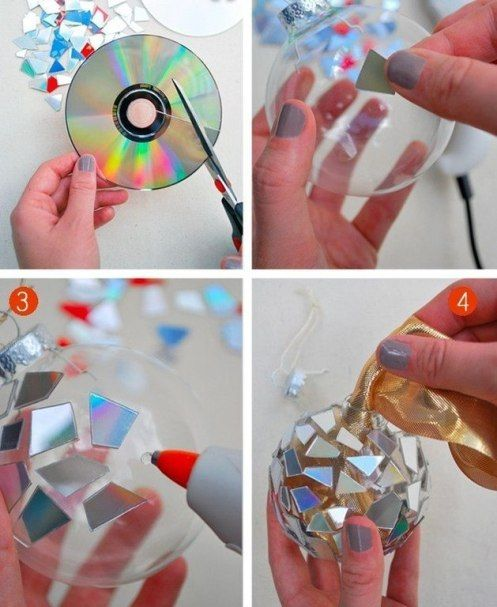 Homemade Angel Christmas Ornaments | glue pieces on Christmas ball and that's it! Shiny sparkle Christmas ...