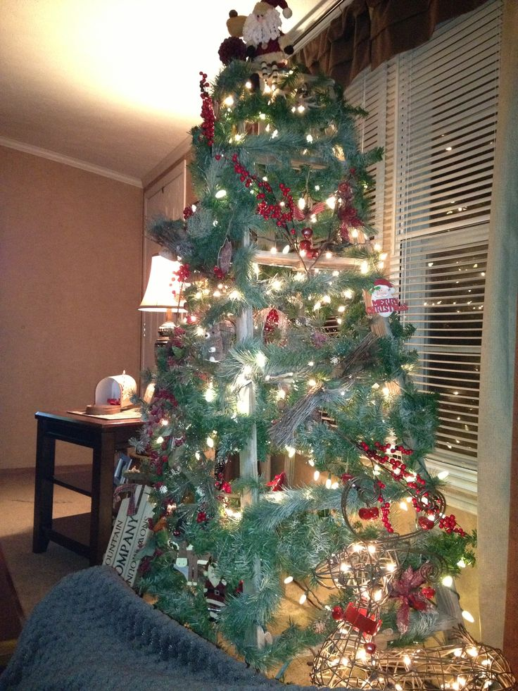 Old Wooden Ladder Used For Christmas Tree Wrap Lights And