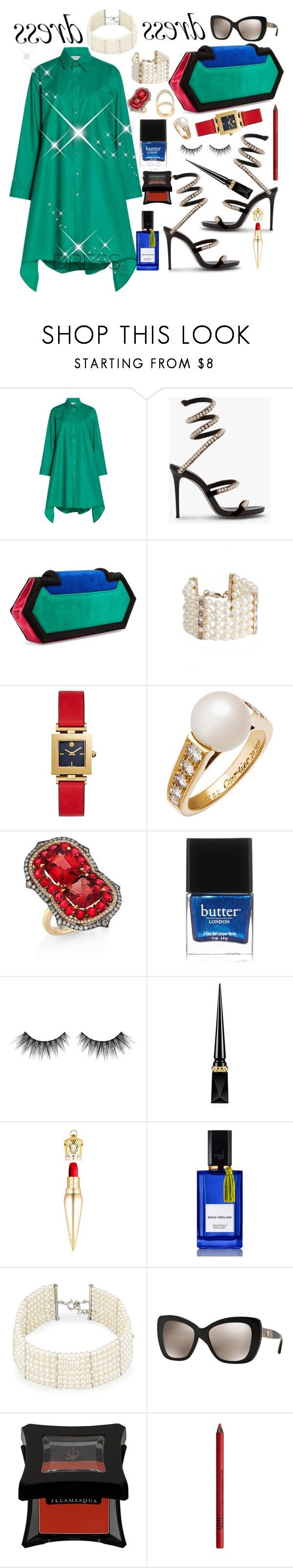 """Dress 🌹"" by seanahr ❤ liked on Polyvore featuring Balenciaga, Balmain, St. John, Tory Burch, Cartier, Ivy, Butter London, Huda Beauty, Christian Louboutin and Diana Vreeland"