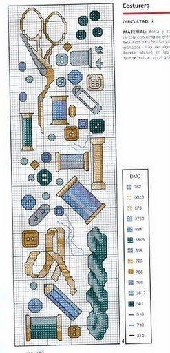 Cross-stitch Sewing Notions Bookmark...    Punto de Cruz GRATIS: Costureros y minis de costura: IDEAS