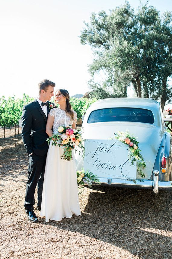Vintage Wedding Getaway Car
