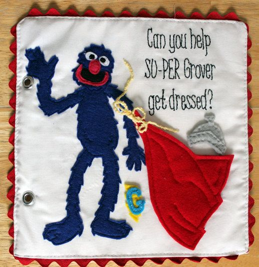 Super Grover Sesame Street Dress Grover Quiet Book Pattern (for more pictures visit http://toblertales.blogspot.com/2014/10/sesame-street-quiet-book-super-grover.html)