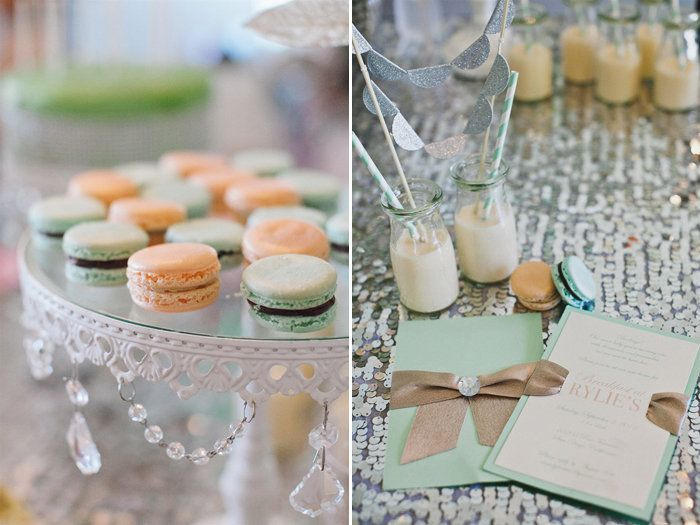 Baby Bling: Sweet Paper created the Breakfast at Tiffany's-inspired invitations, and the sweet macarons in shades of peach and mint came from Le Bonbon.  Source: En Point Photography