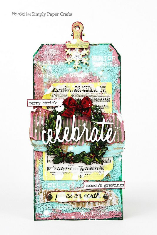 Meihsia Liu Simply Paper Crafts Mixed Media Tag Christmas Torn Paper Simon Says Stamp Tim Holtz 1