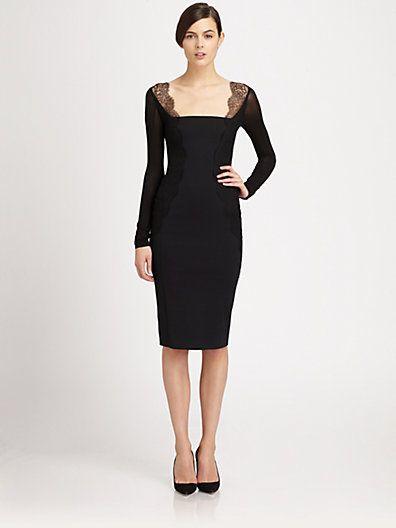 rehearsal dinner? Donna Karan - Lace-Paneled Stretch Jersey Dress - Saks.com