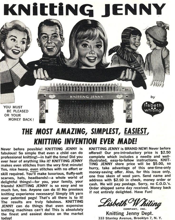Knitting Jenny: Vintage Knitting, Knit Goodies, Knitting Machine, Knitting Knitting Loom Boards, Loom Knitting, Knitting Advertising, Vintage Ads, Vintage Advertisements