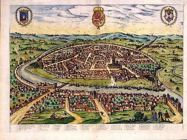 Mapa de Sevilla, gran potencia en el siglo XVI, En el mapa aparecen los galeones de Indias Joris Hoefnagel, s. XVI.