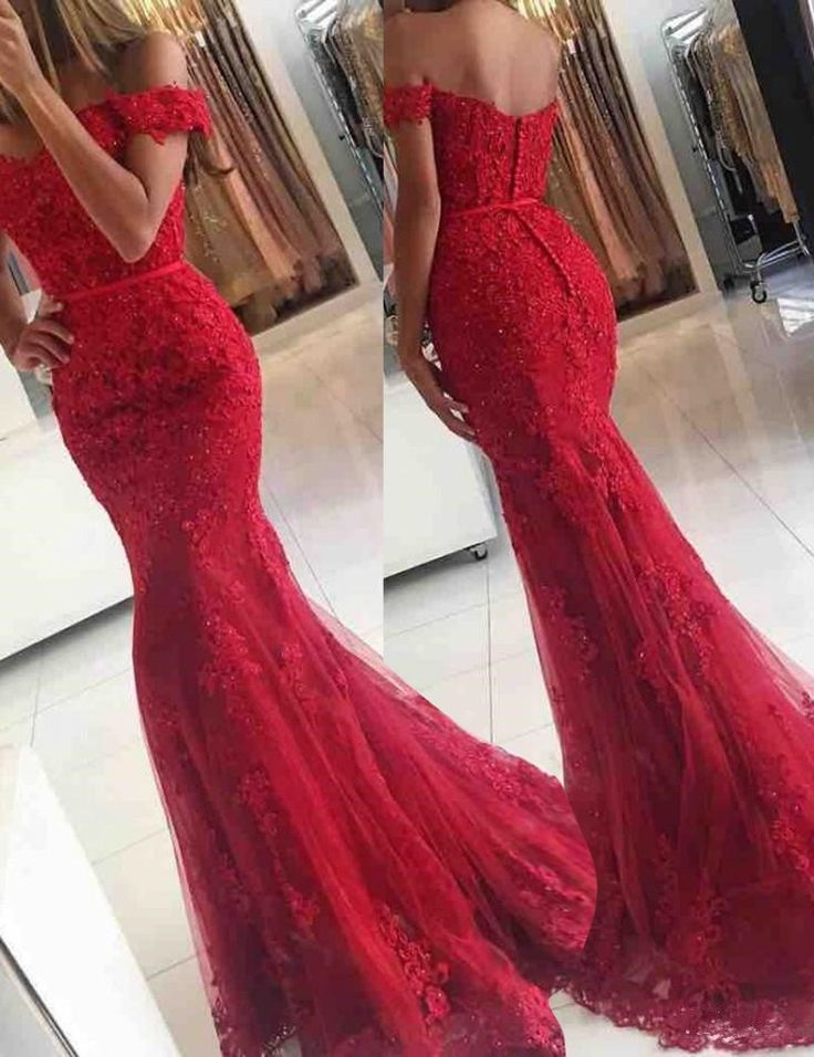 Fancy Off Shoulder Sweep Train Mermaid Red Prom Dress with Sash Lace