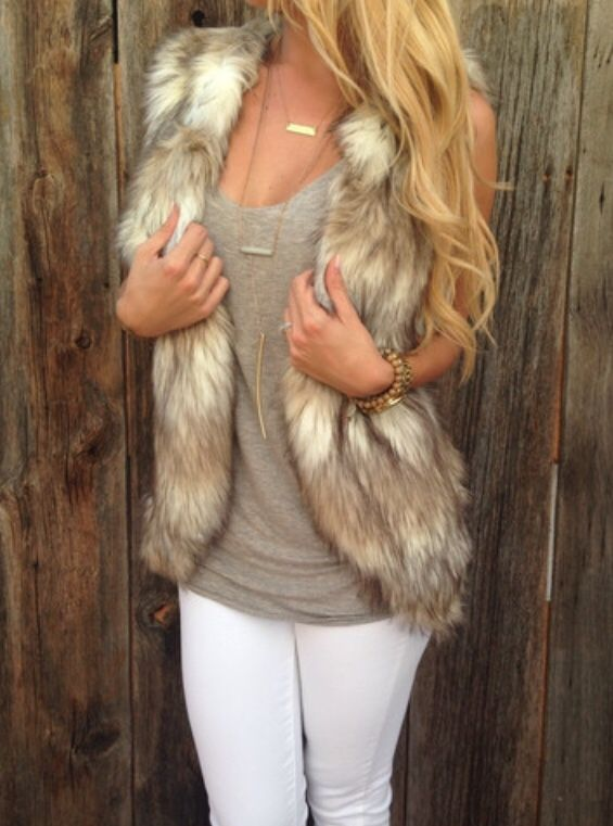 Seriously obsessed with this faux fur vest.