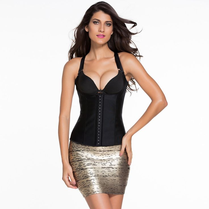 #D5386 Black Steel Boned Latex Waist Trainer Vest