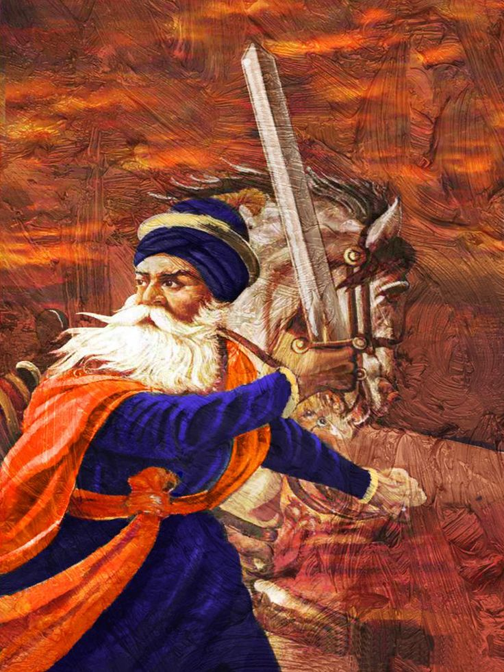 A stirring picture of a very robust and brave Baba Deep Singh with his horse against a turbulent rusty backdrop. The fierce expression and sword in hand depict his valour and determination.