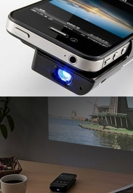 iphone projector. Watch movies and photo slides with your iphone on the wall….like the old days