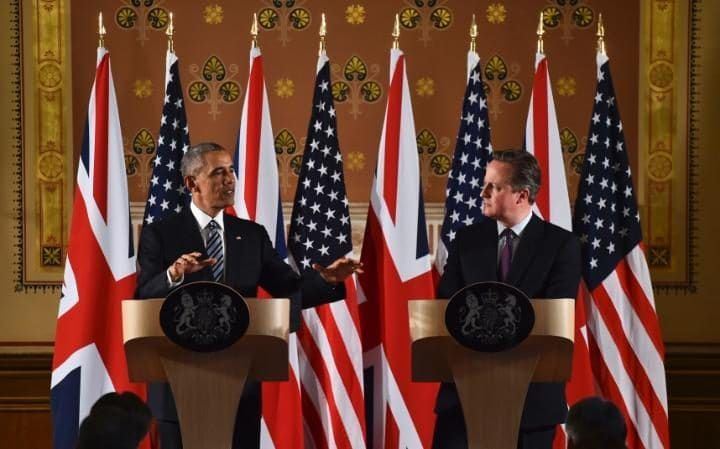 Barack Obama and David Cameron give a press conference at the Foreign Office in London