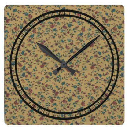 Floral Vintage Romantic Old Fashion Stylish Chic Square Wall Clock - floral gifts flower flowers gift ideas