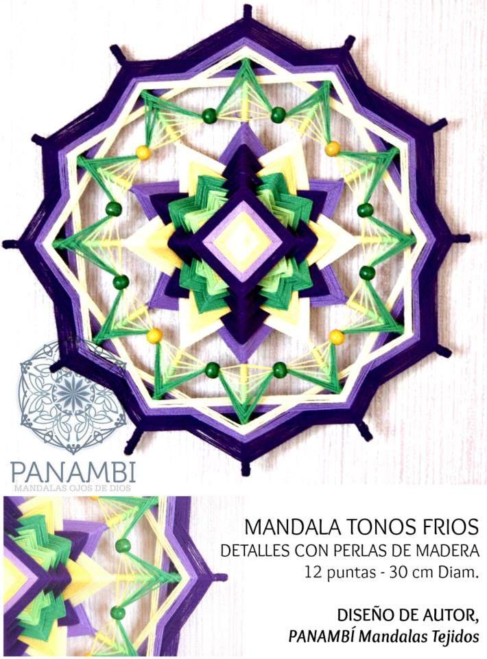 MANDALA TONOS FRIOS -  12 PUNTAS - 30 cm de diámetro aprox - confeccionado a base de madera e hilo con aplicaciones en perlas de madera. DISEÑO DE AUTOR - PANAMBÍ + INFO: www.facebook.com/... MANDALAS MANDALAS TEJIDOS OJOS DE DIOS SIKULI