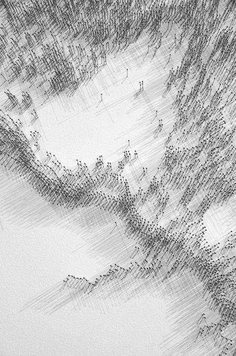 """Maya Lin   """"pin river: lena"""" (detail)   steel pins"""