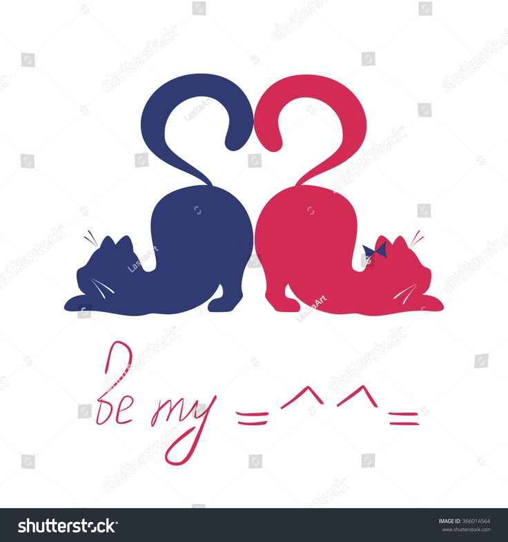 Vector illustration of cats. Cats in love. Valentine's day concept. Cats made heart with tails.