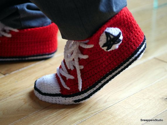 Crochet Pattern for Men Converse Sneakers by SneappersStudio. This converse slippers PDF pattern will guide you through creating a pair of your very own stylish slippers. It's fun, interactive and easy!