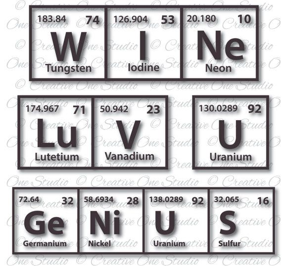 collection genius luv u wine periodic table elements svg dxf eps studio3 pdf png