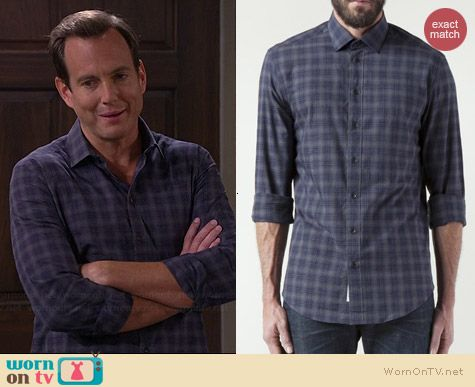 Nathan's blue and grey plaid shirt on The Millers.  Outfit Details: http://wornontv.net/38715/ #TheMillers