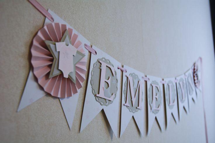 """Wimpelkette mit Namen """"Babyshower"""", Girlande von PartyZeit auf DaWanda.com"""