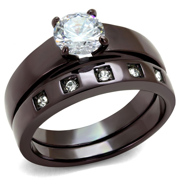 Dark Coffee Ion Plated Stainless Steel Clear AAA CZ Womens Wedding Ring Set
