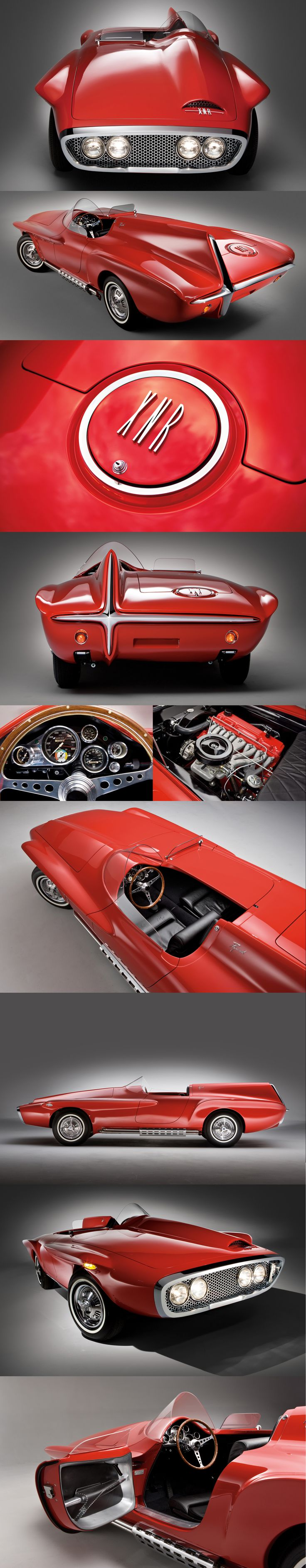 Roadster Plymouth XNR, construit par Ghia, moteur 6 cylindres en ligne incliné, design Virgil Exner, lancé par le groupe Chrysler en 1960