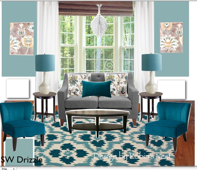 Teal And Gray Or Grey (which Is Correct?) Living Room With
