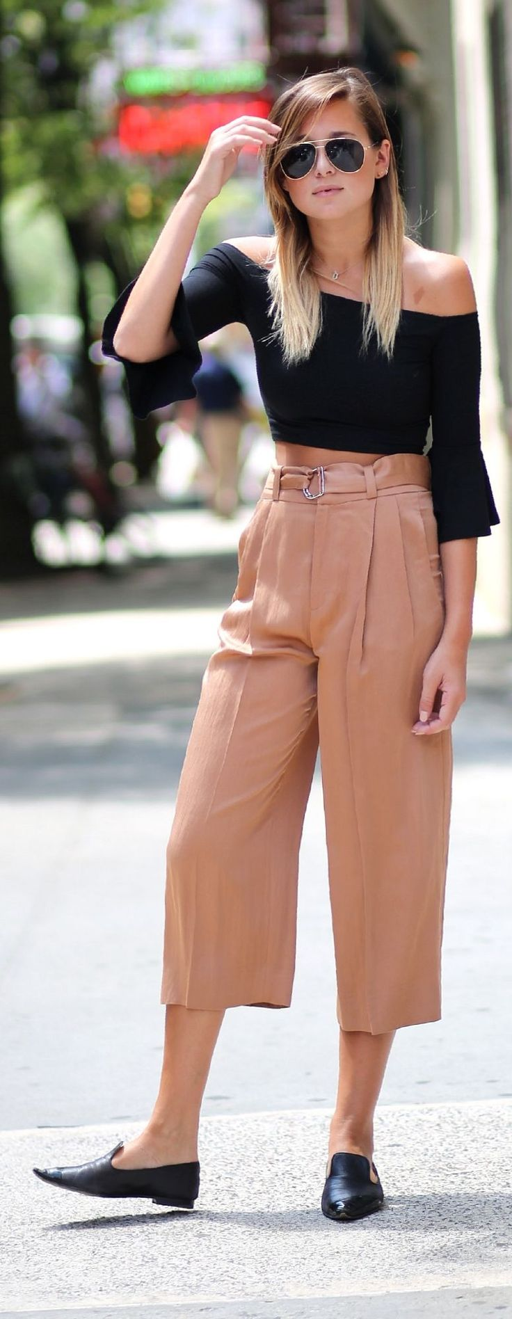 #weworewhat #style Zara Apricot Belted High Waisted Culotte Pants by We Wore What