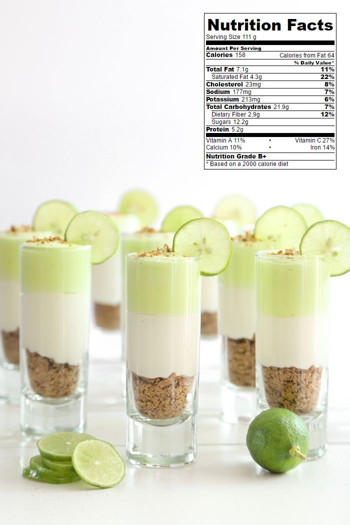 2 cups (80g) bran flakes 8 oz. Neufchatel cheese, at room temperature 1/2 cup (113g) plain Greek nonfat yogurt, at room temperature 1/2 cup (160g) sweetened condensed milk 1/4 cup (60 ml) key lime juice (about 8 key limes juiced) Green food color, optional 1 fresh whole Key lime