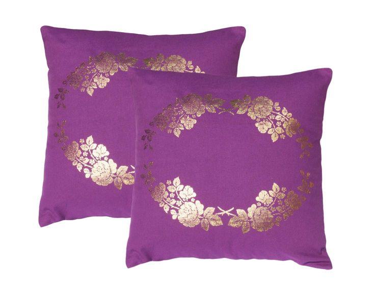 """2 X Lushomes Foil Print Decorative Pillow Cotton Purple Cushion Cover Case 16"""""""