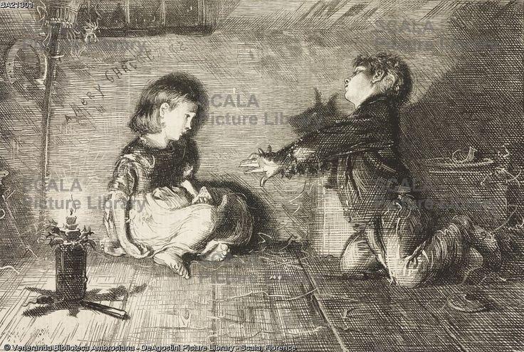 ******** Bambini della grande città, giochi di ombre, Buon Natale, incisione da un quadro di Francis Wilfred Lawson (1842-1935), illustrazione tratta dalla rivista The Graphic, volume XV, n 385, 14 aprile 1877.