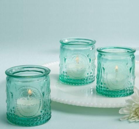 Vintage Blue Glass Tealight Candle Holders - Party City 4 per set, 1-24 sets/$6.00 per set
