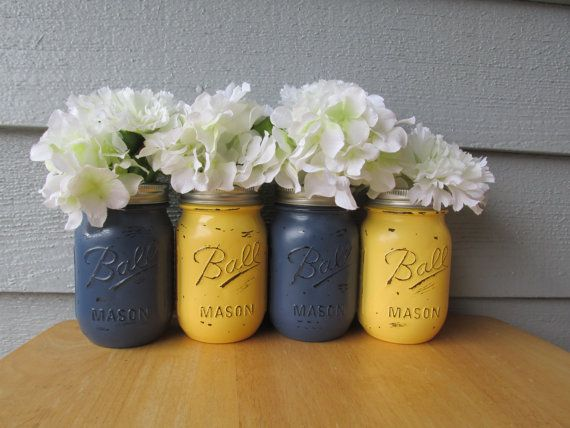 Painted and Distressed Ball Mason Jars- Navy Blue and Pale Yellow-Set of 4-Flower Vases, Rustic Wedding, Centerpieces