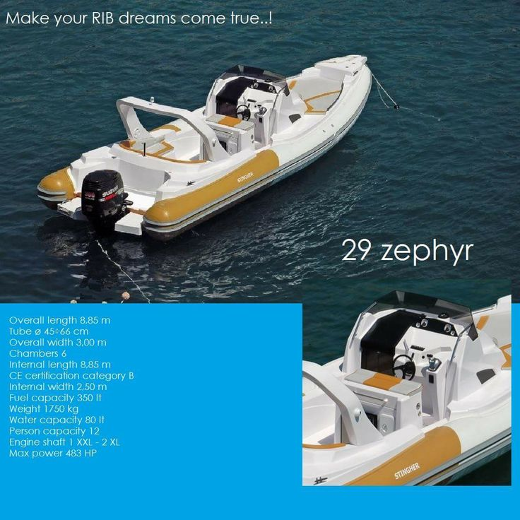 29 Zephyr  Overall length 8,85 m Tube ø 45÷66 cm Overall width 3,00 m Chambers 6 Internal length 8,85 m CE certification category B Internal width 2,50 m Fuel capacity 350 lt Weight 1750 kg Water capacity 80 lt Person capacity 12 Engine shaft 1 XXL - 2 XL Max power 483 HP  Luxury  Powerful Family friendly RIB boats...   Make your RIB dreams come true..!   contact: info@hst.gr https://www.charismerkatis.com/