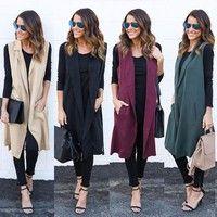 Wish | New Women Casual Sleeveless Long Duster Coat Jacket Cardigan Suit Vest Waistcoat