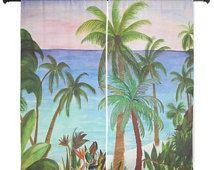 "Aqua palm tree beach shear curtains available in 60"" or 84"" lengths"
