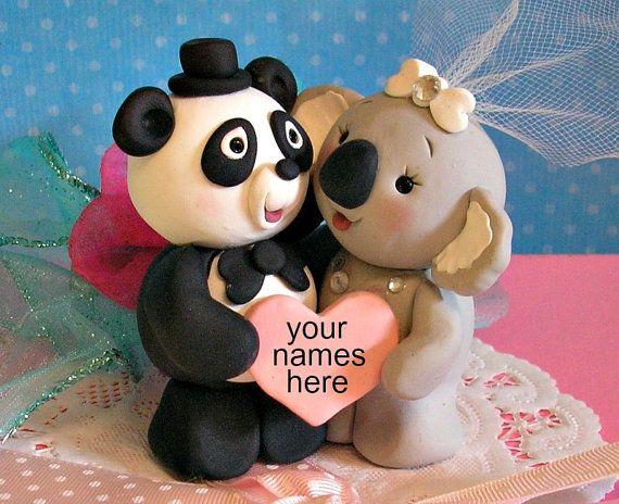 Panda Bear and Koala Bear Wedding Cake Topper by Buttonwilloe, $68.00