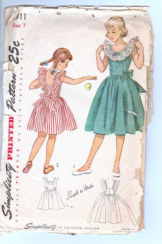 Girl's Vintage Dress Pattern Size 7 1949 Simplicity 2911