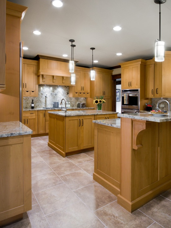 Traditional Kitchen White With Tile Floor Giallo