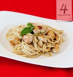 CREAMY PESTO CHICKEN PASTA SERVES 4. 400g / 16 oz. spaghetti 300g / 10.5 oz. chicken breast, cut into bite-size pieces 1 1/4 cups heavy cream 1/4 cup basil pesto In a pot of salted, boiling water, cook the spaghetti until al dente. In a large nonstick frying pan, brown the chicken. Add the cream and pesto and simmer for 5 minutes. Add the spaghetti and toss well. Serve warm. Optional: Sprinkle with Parmesan cheese to serve ... This is fast & fabulous!