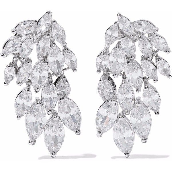 KENNETH JAY LANE   Silver-tone crystal earrings ($82) ❤ liked on Polyvore featuring jewelry, earrings, post earrings, silvertone earrings, kenneth jay lane, silver tone jewelry and kenneth jay lane earrings