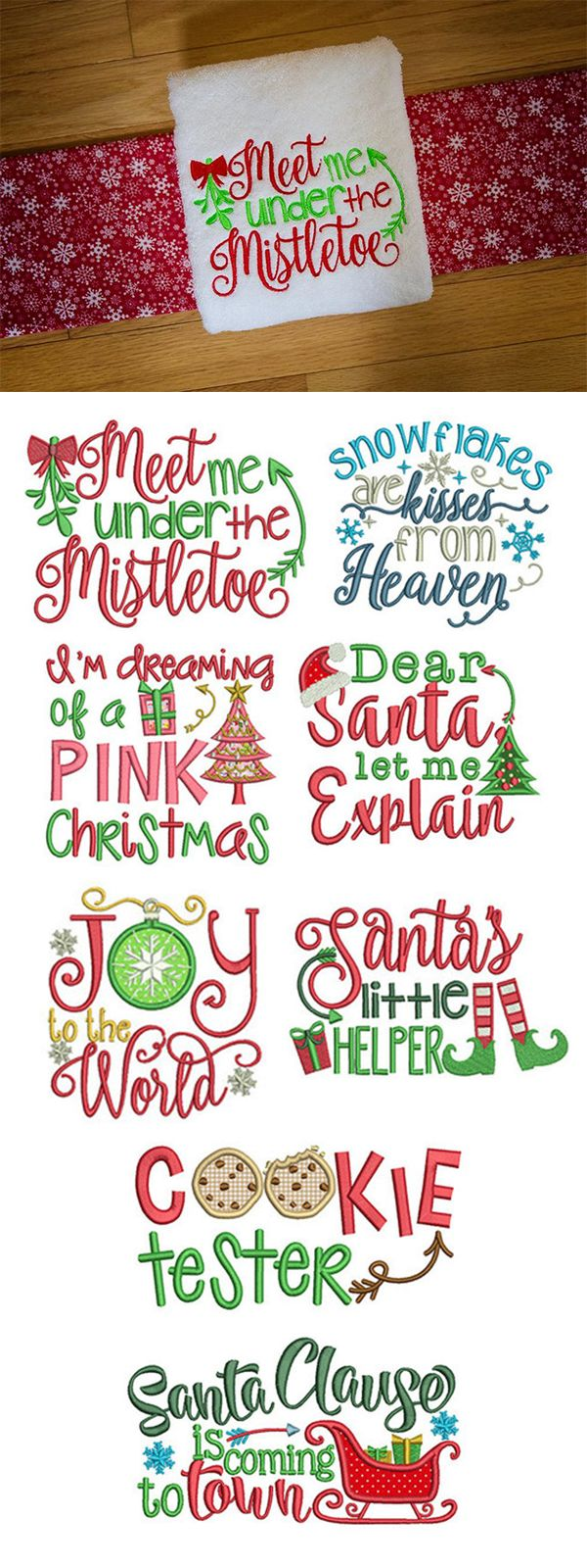 Christmas word art set designs by juju machine embroidery store view