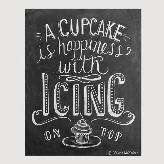 Chalkboard Art - Bakery Print - Cupcake Art - Kitchen Decor - Chalkboard Print - 8 x 10 Print - Typography $24