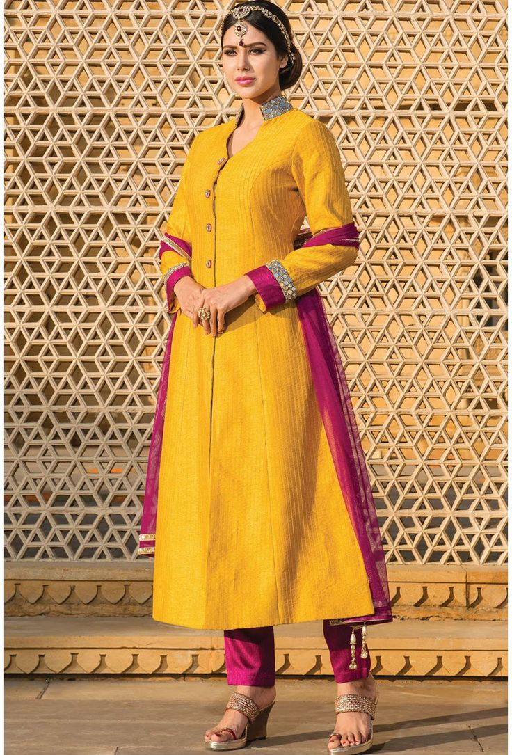 Yellow Raw Silk Salwar Kameez - Glowindian