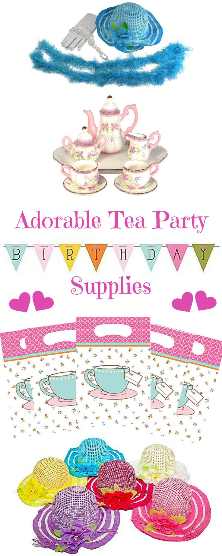 Adorable tea party supplies for little girls.  Perfect for birthday parties!