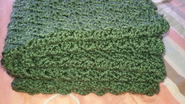 Colcha verde en crochet para mi nieto..♡