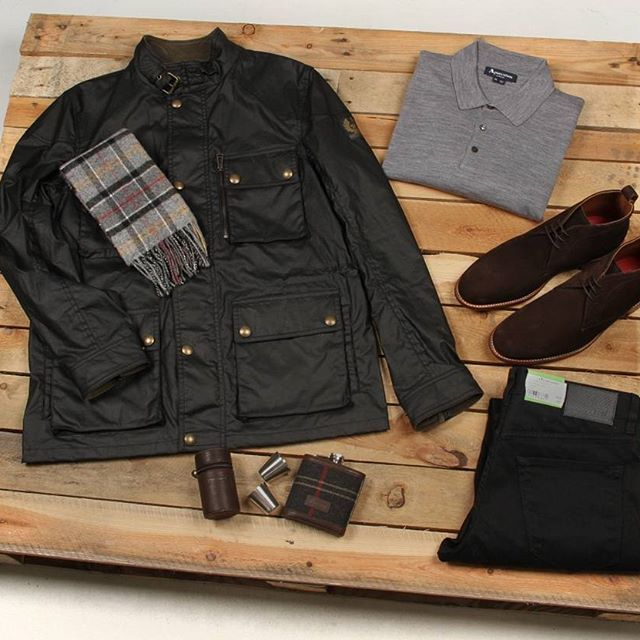 Today's #aphroditessentials features one of our favourite winter looks. Including a @aquascutum top, some @hugoboss jeans, some @grensonshoes, a @belstaff jacket and a @barbour scarf with our @barbour hip flask gift set. #aphrodite1994 #aphroditeclothing #mensfashion #aw16 #gifts #newseason #footwear #barbour #accessories #grensonshoes #hugoboss #flatlay #flatlays #flatlayapp www.flat-lay.com