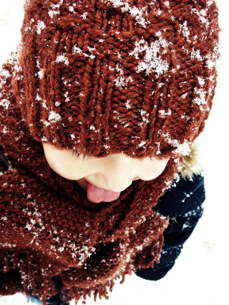 Eating snow!
